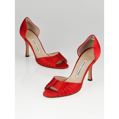 Manolo Blahnik Red Satin D'Orsay Heels Size 8/38.5