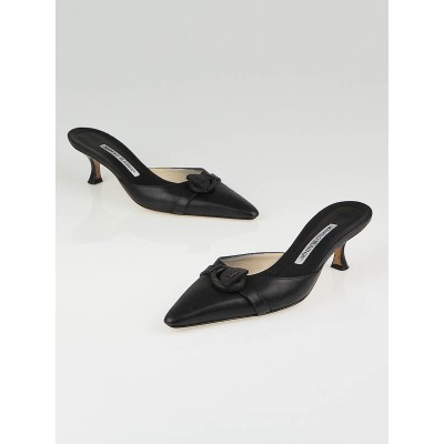 Manolo Blahnik Black Leather Pointed Toe Mules Size 6.5/37