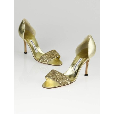 Manolo Blahnik Gold Leather Brocade Open-Toe Heels Size 9.5/40