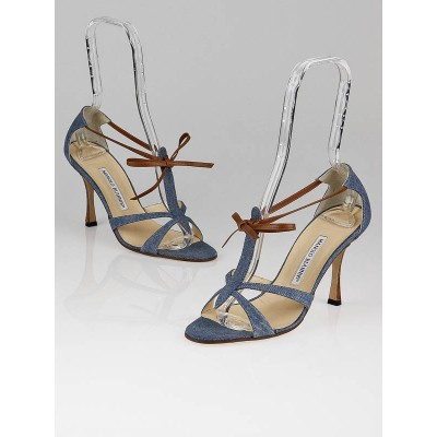 Manolo Blahnik Blue Denim Fabric Venusa Strappy Sandals Size 8/38.5