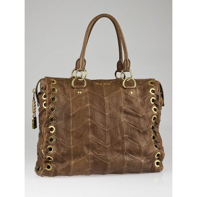 Miu Miu Tan Chevron Leather Grommet Tote Bag