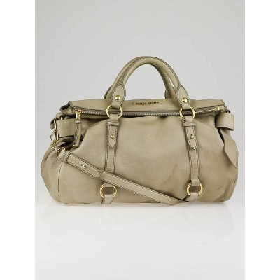 Miu Miu Beige Vitello Leather Bow Top Handle Bag