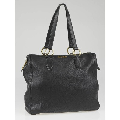 Miu Miu Black Pebbled Leather Convertible Zip Tote Bag