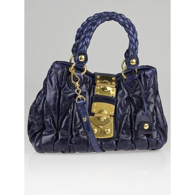 Miu Miu Bluette Matelasse Lux Leather Bauletto Aperto Bag RN0473