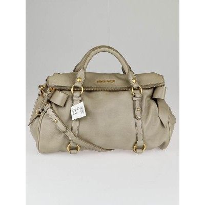 Miu Miu Alluminio Vitello Leather Bow Top Handle Bag