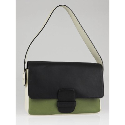 Marc Jacobs Black/White/Green Leather 'Violet' Colorblock Bag