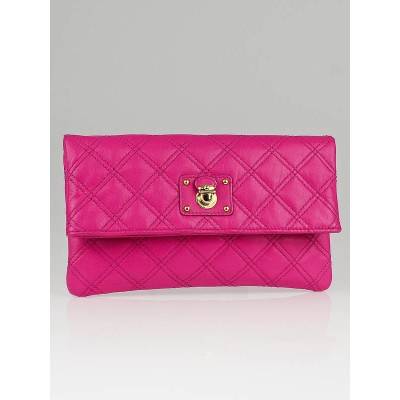 Marc Jacobs Bright Pink Quilted Leather Eugenie Evening Clutch Bag