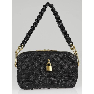 Marc Jacobs Black Python Stamped Lux Leather St. Marks Killer Bag
