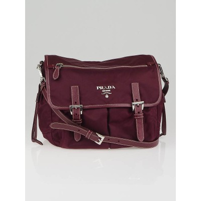 Prada Purple Nylon and Leather Medium Messenger Bag BT0687