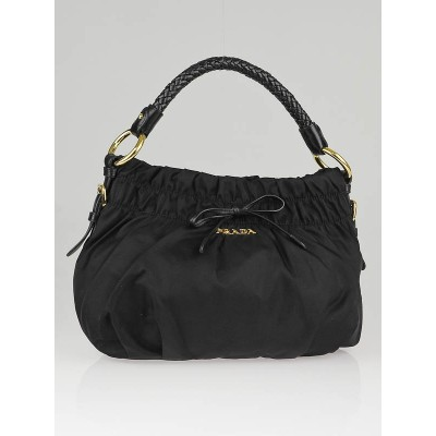 Prada Black Tessuto Nylon Small Bow Hobo Bag