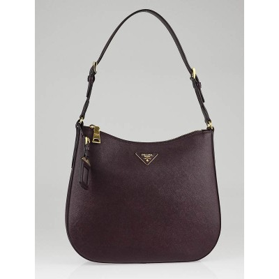 Prada Bordeaux Saffiano Leather Lux Shoulder Bag BR4903