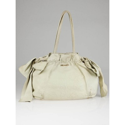 Prada Creme Leather Nappa Antique Bow Bag BR4206