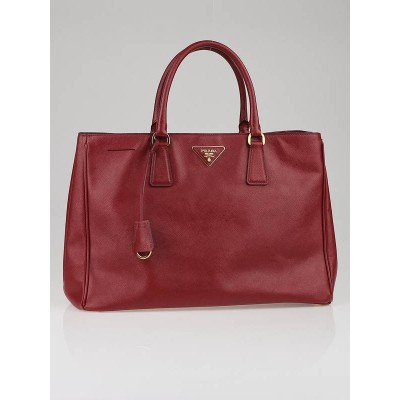 Prada Red Saffiano Leather Lux Large Tote Bag