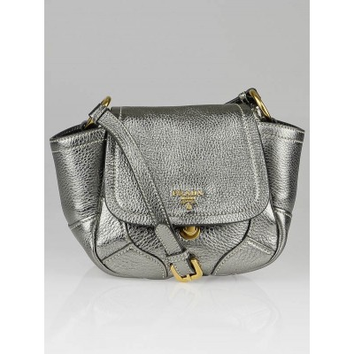 Prada Metallic Silver Vitello Daino Leather Bandoliera Bag BT0668