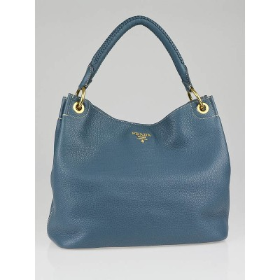 Prada Marine Blue Vitello Daino Leather Hobo Bag BR4829