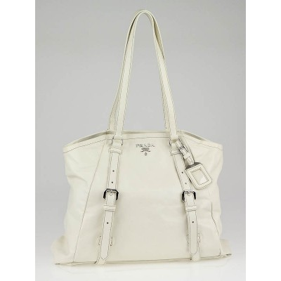 Prada White Leather New Look Shopping Tote Bag BR3906