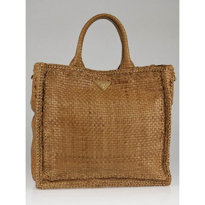 Prada Linfa Leather Madras Woven Large Shopping Tote Bag BN2222