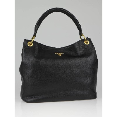 Prada Black Vitello Daino Leather Hobo Bag BR4829