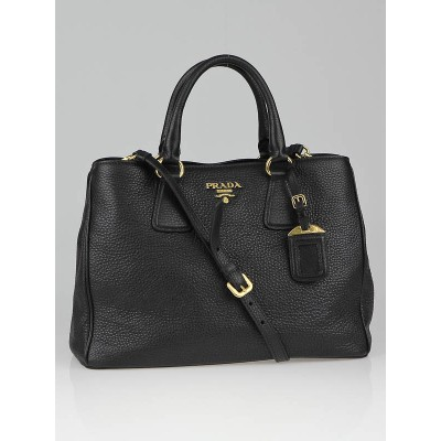 Prada Black Pebbled Leather Vitello Daino Tote Bag BN2579