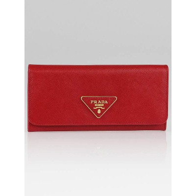 Prada Fuoco Saffiano Triangle Leather Long Continental Wallet 1M1132