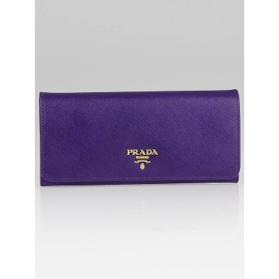 Prada Viola Saffiano Metal Leather Long Continental Wallet 1M1132