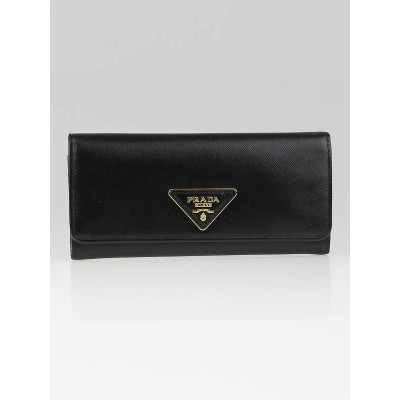Prada Black Saffiano Triangle Leather Long Continental Wallet 1M1132