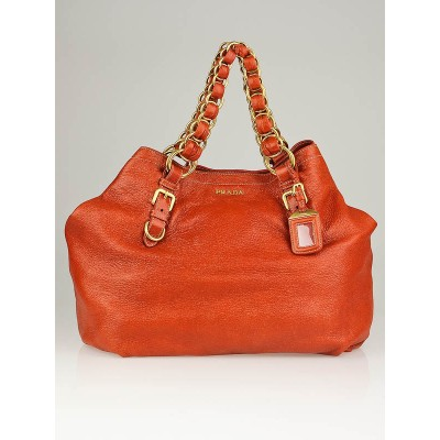 Prada Orange Cervo Leather Large Chain Hobo Bag