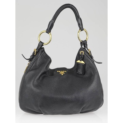 Prada Black Cervo Lux Leather Zippers Hobo Bag BR4239