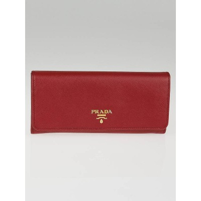 Prada Rubino Saffiano Metal Leather Long Continental Wallet 1M1132