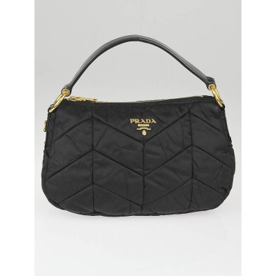 Prada Black Chevron Quilted Tessuto Nylon Shoulder Bag