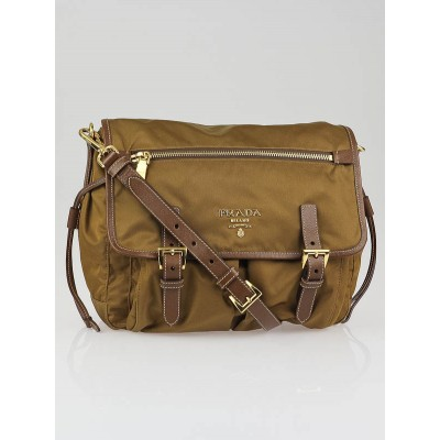 Prada Beige Nylon and Leather Medium Messenger Bag BT0687