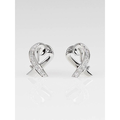 Tiffany & Co. 18k White Gold and Diamond Paloma Picasso Loving Heart Stud Earrings