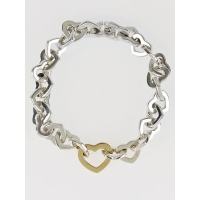 Tiffany & Co. Sterling Silver and 18k Gold Heart Link Bracelet