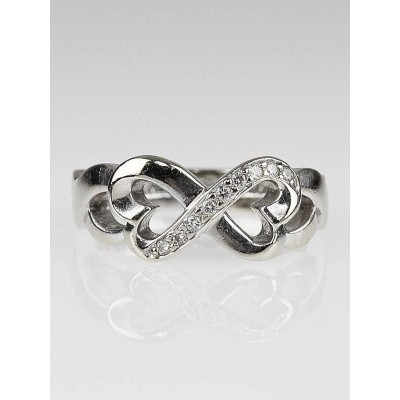 Tiffany & Co. 18k White Gold and Diamond Paloma Picasso Double Loving Heart Ring Size 4.5