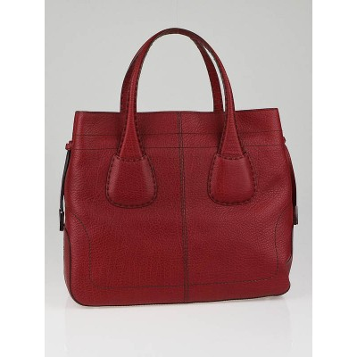Tod's Red Pebbled Calfskin Leather Rounded D-Bag Tote Bag