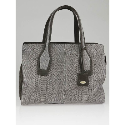 Tod's Grey Python and Suede East/West Ava Large Tote Bag