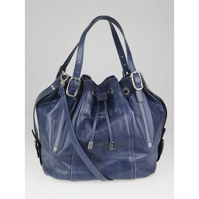 Tod's Blue Leather Secchiello Medio Tote Bag