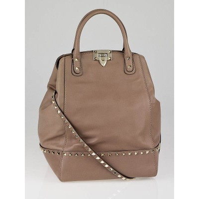 Valentino Camel Leather Rockstud New Dome Bucket Tote Bag