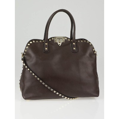 Valentino Dark Brown Leather Rockstud Dome Double Handle Bag