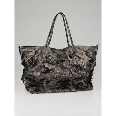 Valentino Bronze Nappa Leather Floral Applique Tote Bag