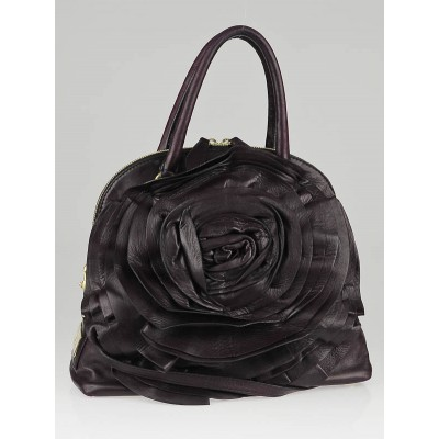 Valentino Dark Plum Nappa Leather Petale Dome Bag