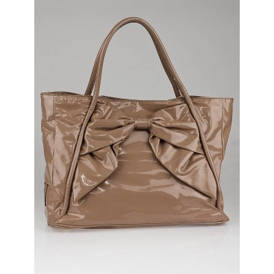 Valentino Beige Coated Canvas Bow Tote Bag