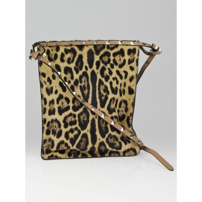 Valentino Leopard Print Calf Hair Rockstud Cavalino Small Crossbody Bag