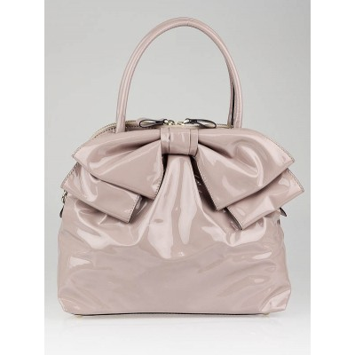 Valentino Beige Coated Canvas Lucca Dome Bow Bag