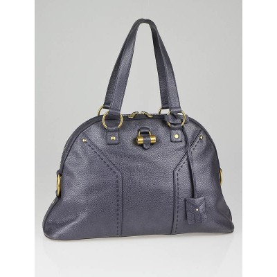 Yves Saint Laurent Blue Iridescent Leather Large Muse Bag