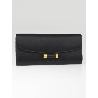 Yves Saint Laurent Black Satin Sac Muse Clutch Bag