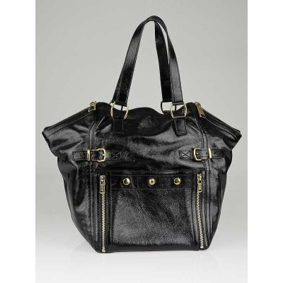 Yves Saint Laurent Black Patent Leather Large Downtown Bag