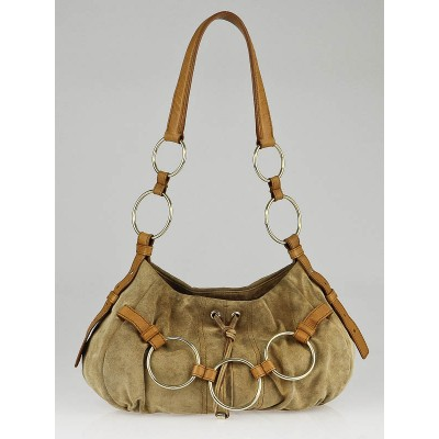 Yves Saint Laurent Camel Suede Saharienne Shoulder Bag