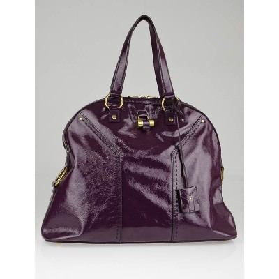 Yves Saint Laurent Purple Patent Leather Large Dome Satchel Muse Bag