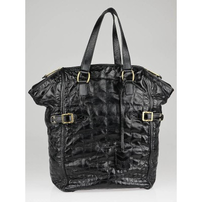 Yves Saint Laurent Black Croc-Print Patent Leather XL Downtown Bag